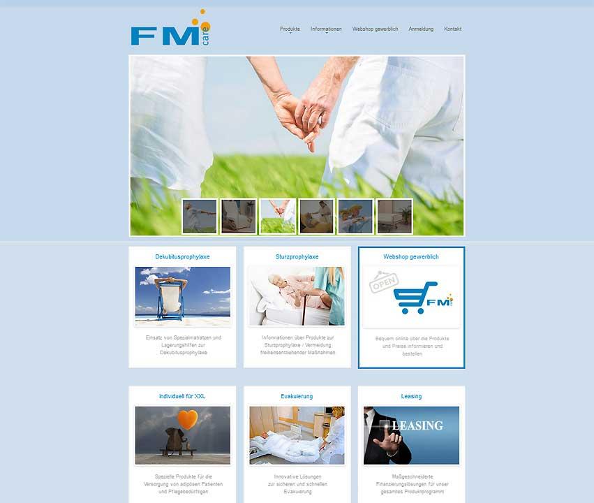 Website-Projekt FMCare - Produkte für Pflege und Rehabilitation